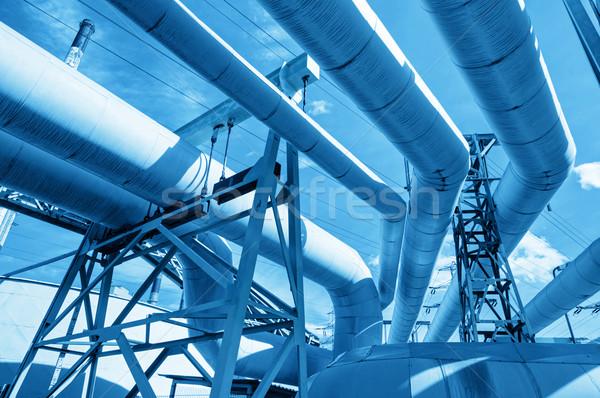 Tuyaux centrale électrique industrie urbaine industrielle technologie Photo stock © photocreo