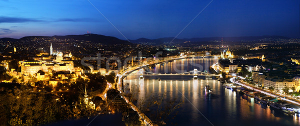 Будапешт Венгрия мнение холме Панорама ночь Сток-фото © photocreo