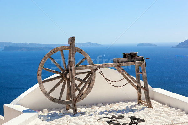 Old craftsmanship machine on the roof. Santorini island, Greece Stock photo © photocreo