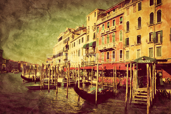 Vintage art of Venice Grand Canal and gondola small harbor, Italy. Stock photo © photocreo