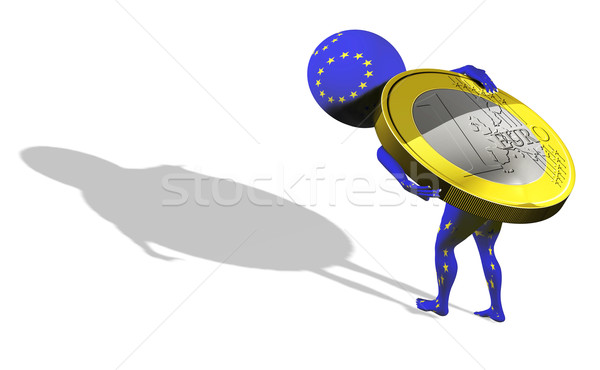 A little 3d guy in UE flag carrying 1 euro Stock photo © photocreo