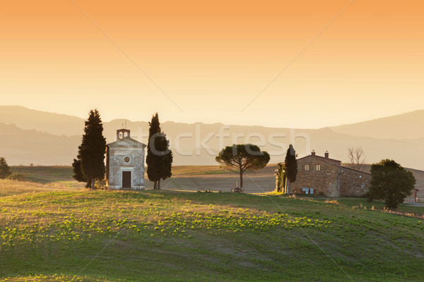 Toscane paysage sunrise peu chapelle Italie Photo stock © photocreo