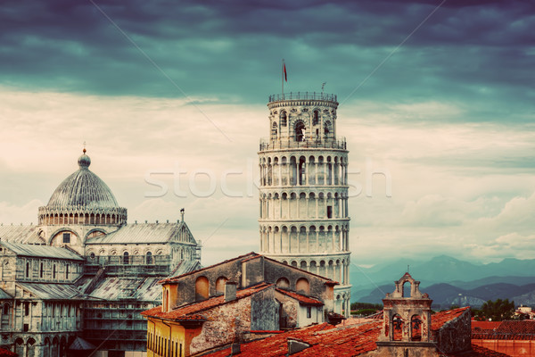 Pisa Cathedral with the Leaning Tower panorama. Unique rooftop view. Stock photo © photocreo