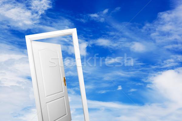 Abrir a porta azul ensolarado céu sucesso Foto stock © photocreo