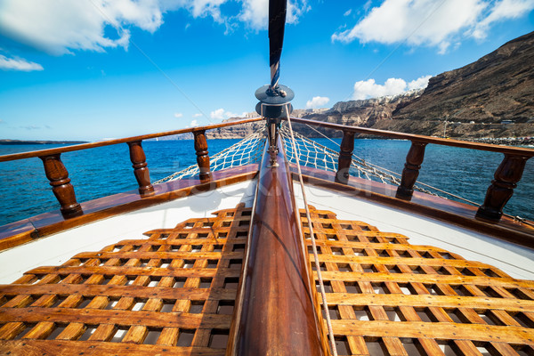 On board view from a traditional ship cruising on Aegean sea next to Santorini island.  Stock photo © photocreo