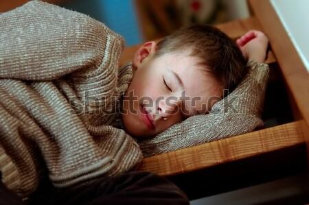 álmos fiú fáradt alszik lépcsősor gyermek Stock fotó © photocreo