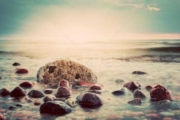 Dramático pôr do sol praia vintage mar báltico marinha Foto stock © photocreo