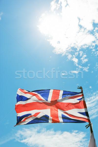 Union jack vlag Verenigd Koninkrijk wind Blauw Stockfoto © photocreo