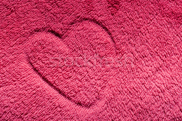Heart on red furry cloth. Love, Valentine's Day background Stock photo © photocreo