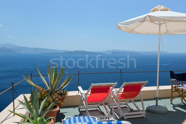 Twee dak santorini eiland Griekenland gebouw Stockfoto © photocreo