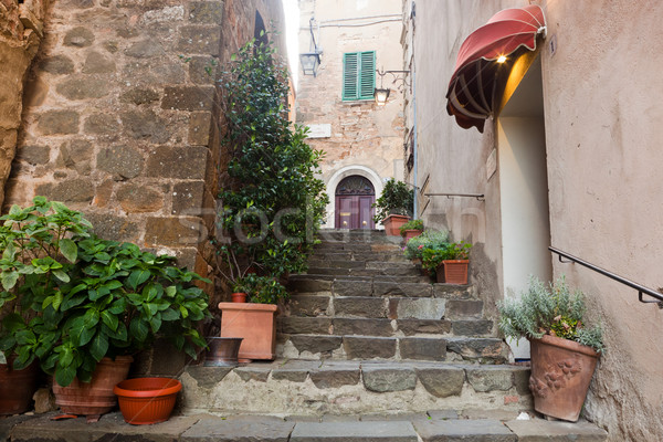 Romantic narrow street and stairs in Montepulciano, Tuscany, Italy. Stock photo © photocreo