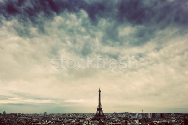 Stok fotoğraf: Paris · Fransa · ufuk · çizgisi · Eyfel · Kulesi · karanlık · bulutlar