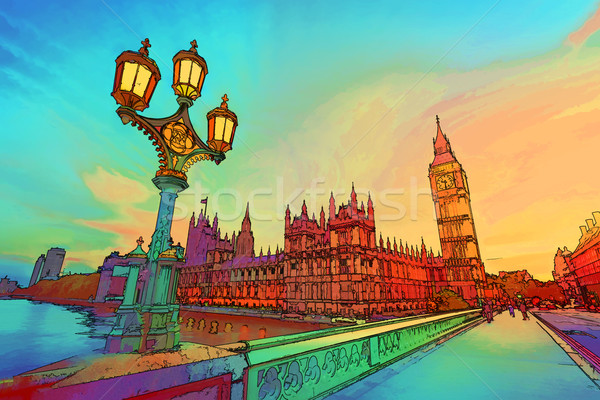 Cartoon style illustration Big Ben westminster pont Photo stock © photocreo