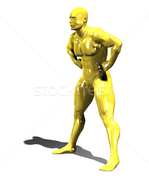 Gold hero man statue in confident pose Stock photo © photocreo