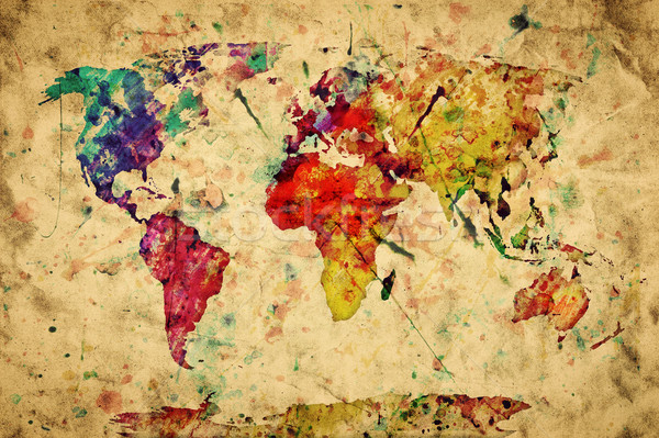 Vintage world map. Colorful paint, watercolor on grunge, old pap Stock photo © photocreo