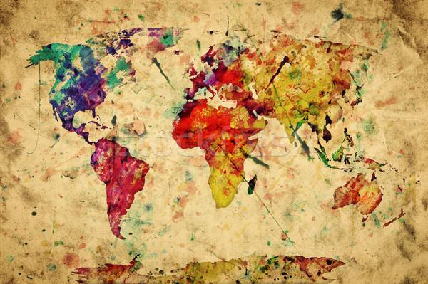 Сток-фото: Vintage · Мир · карта · красочный · краской · акварель · Гранж