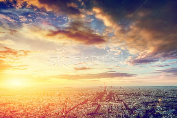 Paris, France skyline, panorama at sunset. Eiffel Tower, Champ de Mars Stock photo © photocreo