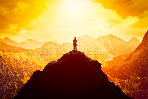 usinessman in hat on the peak of the mountain. Business venture, future perspective, success Stock photo © photocreo