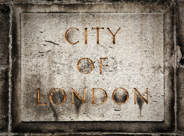 Old grunge stone board with City of London text Stock photo © photocreo