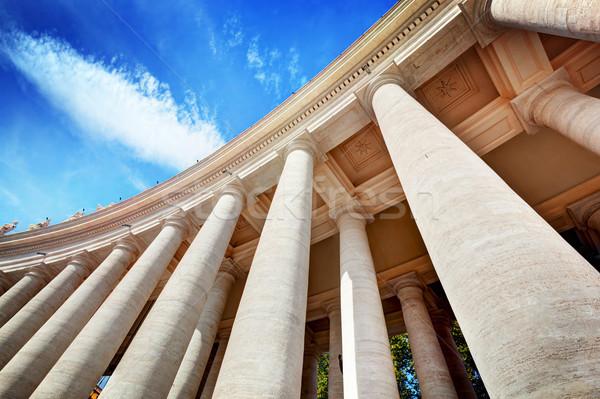 Sint-Pietersbasiliek kolommen Vaticaanstad blauwe hemel hemel Blauw Stockfoto © photocreo