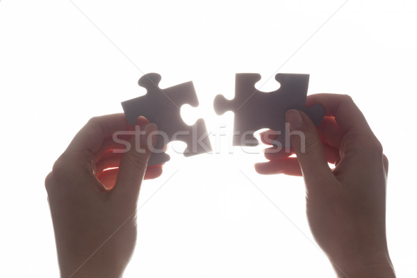 Stock photo: Joining two pieces of jigsaw puzzle. Solution, business.