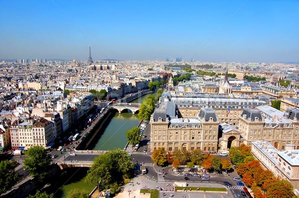 Stock fotó: Párizs · Eiffel-torony · égbolt · háttér · épületek · városi
