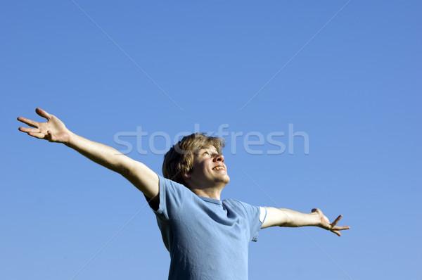 Aktív fiú mutat boldogság dallam természet Stock fotó © photocreo