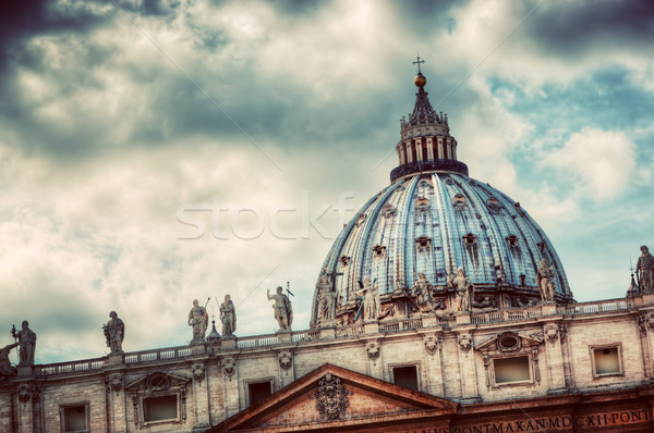 Fountain on St. Peter's square in Vatican City. Vintage Stock photo © photocreo