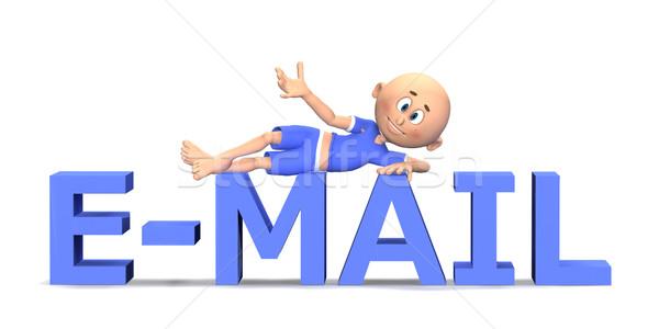 Email szöveg rajzfilmkarakter fickó 3D aranyos Stock fotó © photocreo