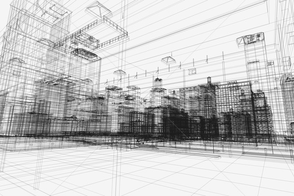 City buildings project, 3d wireframe print, urban plan. Architecture Stock photo © photocreo