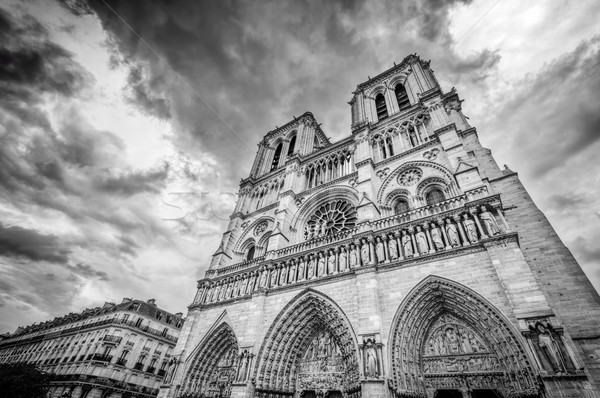 Notre Dame Cathedral in Paris, France in black white.  Stock photo © photocreo