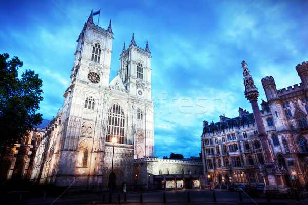 Westminster Abbey church facade at night, London UK. Stock photo © photocreo