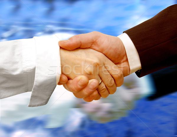 Działalności handshake wody spotkanie pracy podpisania Zdjęcia stock © photocreo
