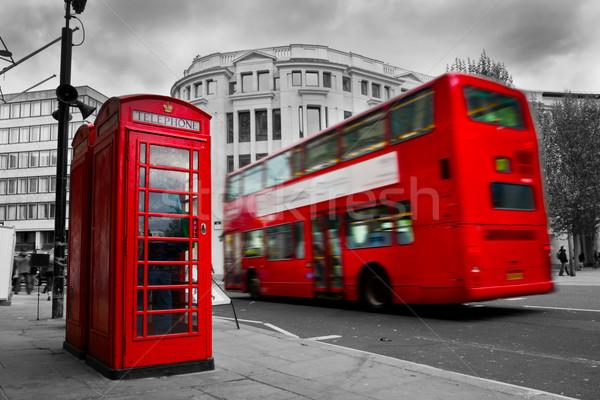 ロンドン 赤 電話 ブース バス 運動 ストックフォト © photocreo