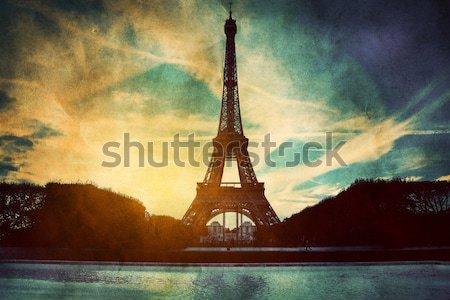 Stok fotoğraf: Eyfel · Kulesi · nehir · Paris · Fransa · bağbozumu