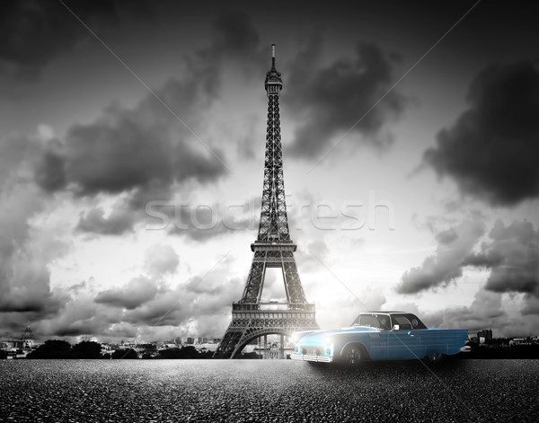 Effel Tower, Paris, France and retro car. Black and white Stock photo © photocreo
