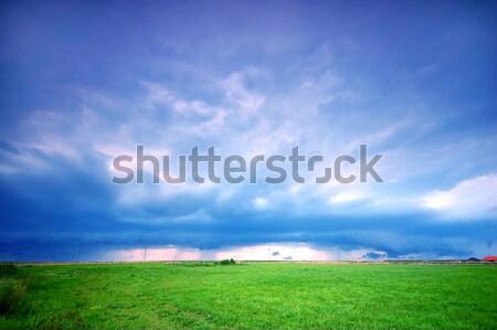 Stormachtig landschap regenachtig hemel gras regen Stockfoto © photocreo