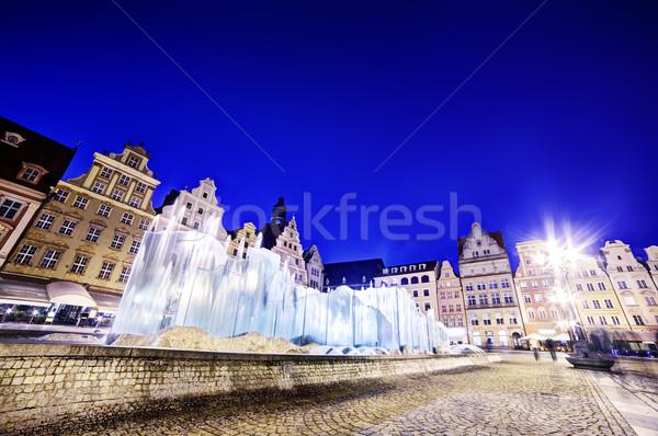 Lengyelország piac tér híres szökőkút éjszaka Stock fotó © photocreo
