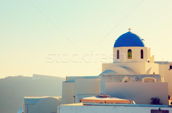 Stock fotó: Város · Santorini · sziget · Görögország · naplemente · kék