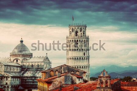 The Leaning Tower in Pisa, Italy. Unique rooftop view. Vintage Stock photo © photocreo