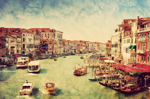 Velence Olaszország hajók csatorna klasszikus művészet Stock fotó © photocreo