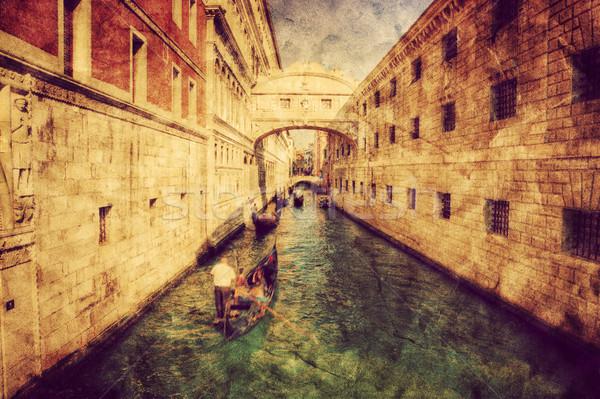 Venice, Italy. Bridge of Sighs and gondola. Vintage art Stock photo © photocreo