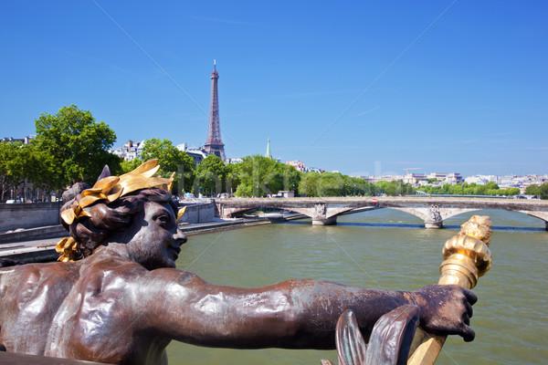 Stok fotoğraf: Eyfel · Kulesi · artistik · heykel · köprü · nehir · Paris