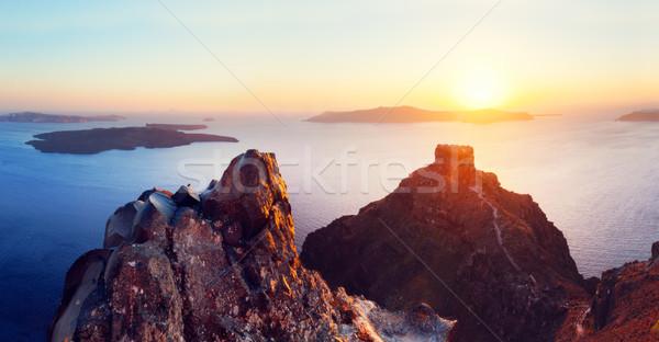 Cliff and volcanic rocks of Santorini island, Greece. View on Caldera Stock photo © photocreo