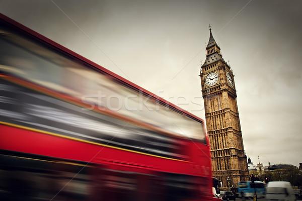 Londres vermelho ônibus movimento Big Ben palácio Foto stock © photocreo
