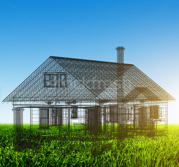 Черно-белые проект зеленый области недвижимости Сток-фото © photocreo