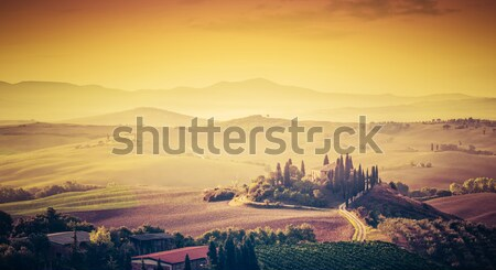 Wonderful Tuscany landscape with cypress trees, farms and small medieval towns, Italy. Vintage sunse Stock photo © photocreo