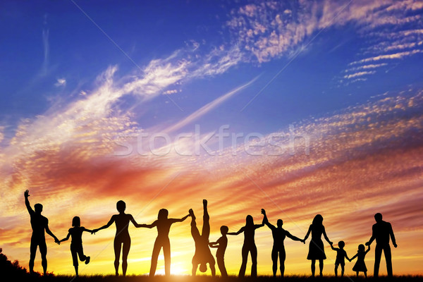 Happy group of diverse people, friends, family, team together hand in hand Stock photo © photocreo