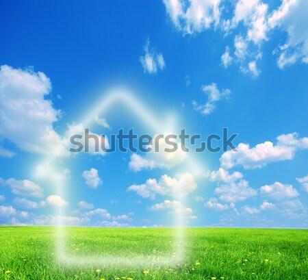 Ház képzelet zöld föld kép tavasz Stock fotó © photocreo