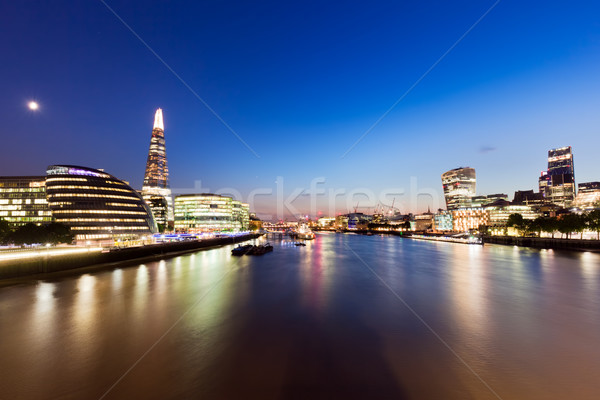 London skyline panorama at night, England the UK. River Thames, the Shard, City Hall. Stock photo © photocreo